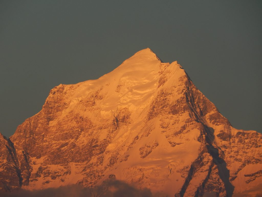 Last rays of sun on Dunagiri peak